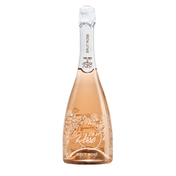 bottle-in-glass high-end wine, sparkling-the-life-in-pink-selective-line